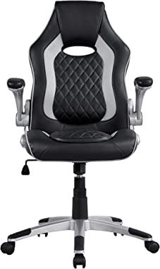 Topeakmart Leather Gaming Chair Height Adjustable Racing Chair Executive Office Chair Task Swivel Chair with Flip-up Armrests