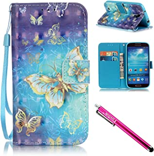 Galaxy S4 Case, Galaxy S4 Wallet Case, Firefish [Card Slots] [Kickstand] Flip Folio Wallet Case Synthetic Leather Shell Scratch Resistant Protective Cover for Samsung Galaxy S4 i9500-Butterfly