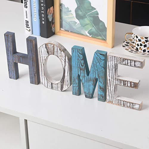 RHF Wood Standing Cutout Letter Decor Rustic Home DecorFamily SignsShelf