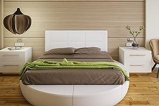 Hogar24 Es Cabecero tapizado, válido para Cama 135 y 150 cm, Blanco, 155x55x3