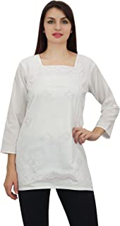Phagun Women's Casual Full Sleeve Self Embroidered Cotton Top Tunic