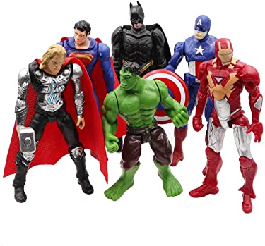 Superhero Action Figures Set of 6 PCS | Action Figure Set | Includes Batman, Hulk, Superman, Thor, Ironman & Captain America | PVC Figure Toy Dolls | Legends Collectible Model | Hero Cake Topper