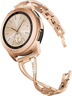 V-MORO Band Compatible with Galaxy Watch 42mm Bands Rose Gold Women 20mm Jewelry Bangle Metal Stainless Steel Replacement for Samsung Galaxy Watch 42mm R810/Gear S2 Classic Smartwatch R732/R735