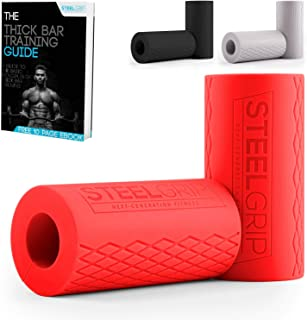 Steelgrip Fat Bar Grips for Dumbbell and Barbell, Thick Silicone Arm Blasters Strength Training - Perfect for Bodybuilding...