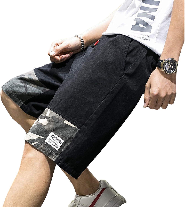 Men's Shorts Fashion Camouflage Stitching Casual Comfortable Elastic Waist