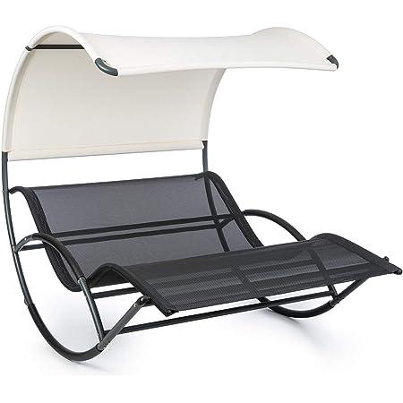 Chaise Longue de Jardin Tissu Respirant Cadre en Acier l/éger Quick Dry Foam Gris Rev/êtement r/ésistant aux intemp/éries Forme Stable blumfeldt Vitello Noble Grey