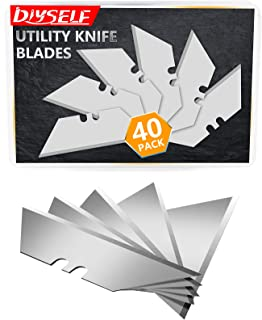 DIYSELF 40Pack Utility Knife Blades, SK5 Steel 40-pack with Plastic Box, Standard Size Knife Blades Perfect for Utility Kn...