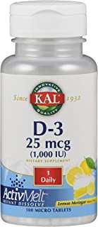 KAL Vitamin D-3 1000 IU | Natural Lemon Flavor ActivMelt Micro Tablets | Healthy Immune Function & Bone Support | 100ct