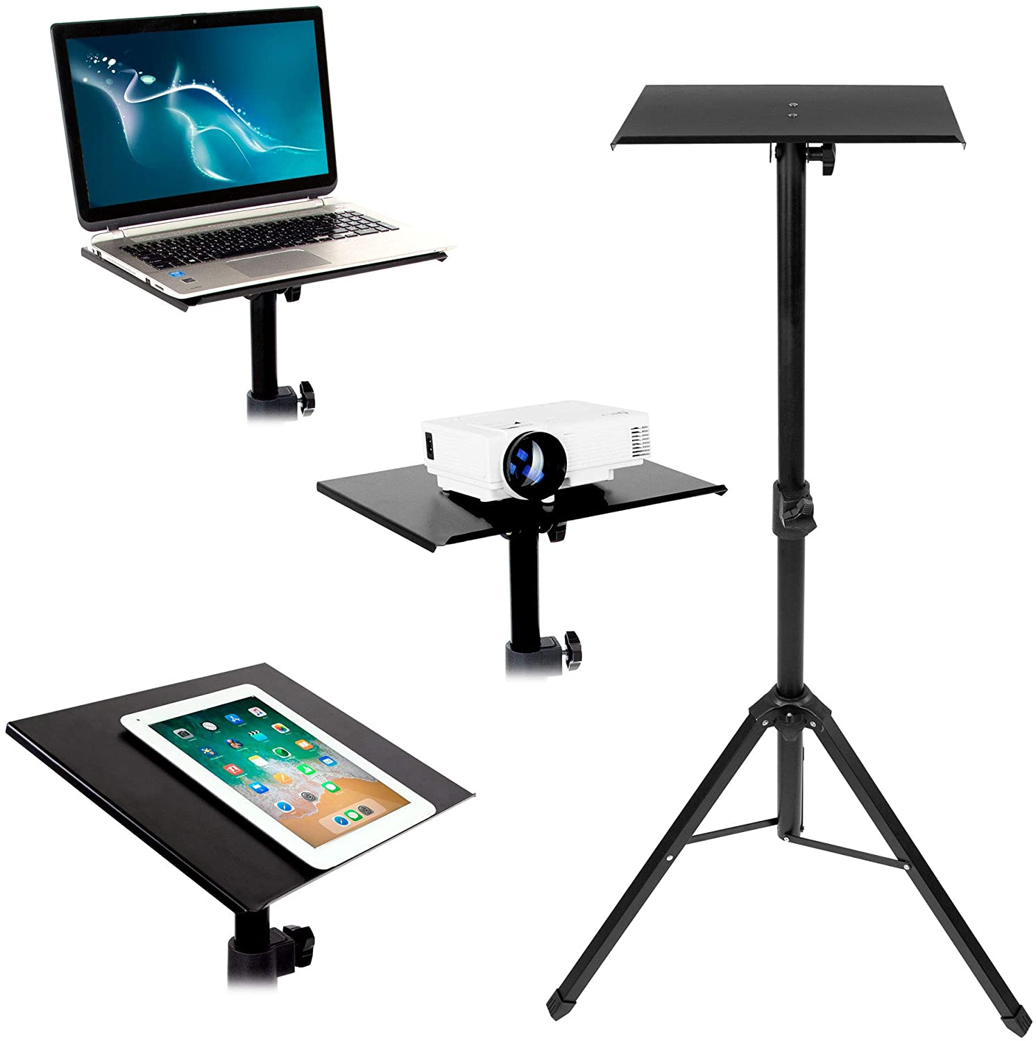 Mount It Tripod Projector Stand, Adjustable DJ Laptop Stand with Height  and Tilt Adjustment, Portable Laptop Projector Table with Steel Tripod Base  ...