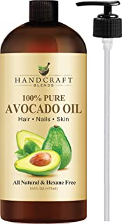 Handcraft Pure Avocado Oil - 100 Percent All Natural - Premium Quality Cold Pressed Carrier Oil for Aromatherapy, Massage and Moisturizing Skin - Hexane Free - 16 oz