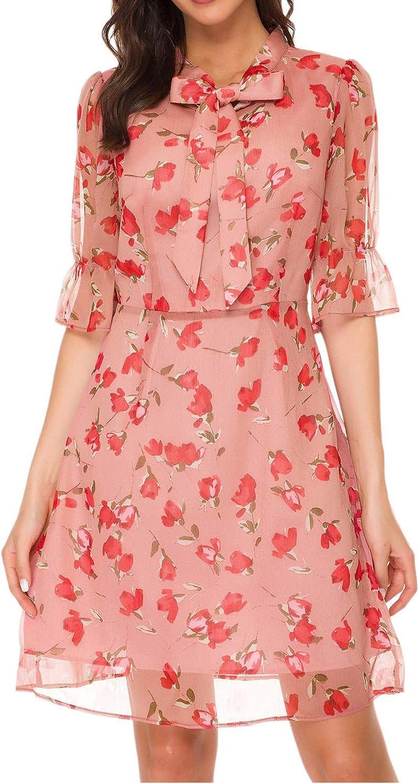 TOP-MAX Women's Dresses -V Neck Boho Floral Split Summer Prom Party Beach Casual Wedding Guest Flowy Long Maxi Dress