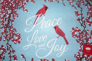 Trim A Home Christmas Holiday Cardinals Peace Love Joy Doormat Nonskid Neoprene Backing Polyester Front 18 x 27 inches Ind...