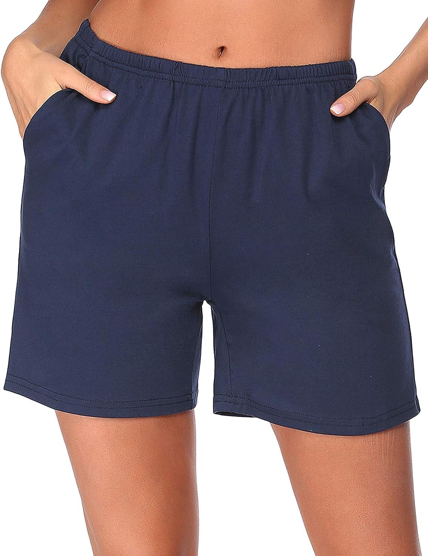 Ekouaer Pajama Shorts Women's Soft Sleep Lounge Shorts Stretchy Cotton Sleepwear Pants Short Pj Bottoms with Pockets S-XXL