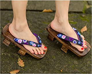 SFQRYP Japanese Traditional Paulownia Wooden Shoes Women Kimono Cosplay Costume Man Geta Sauna Slippers Clogs Floral Flip-...