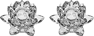 Amlong Crystal 3 inch Clear Lotus Candlesticks Holder, Set of 2