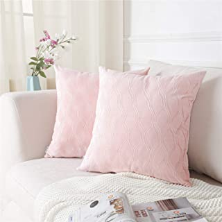 Topfinel Decorative Throw Pillow Covers 18 x 18 Inches for Couch Bed Car Soft Ogee Jacquard Solid Velvet Cushion Cover 45 x 45 cm for Holiday Party Home Decor, Pack of 2, Pink