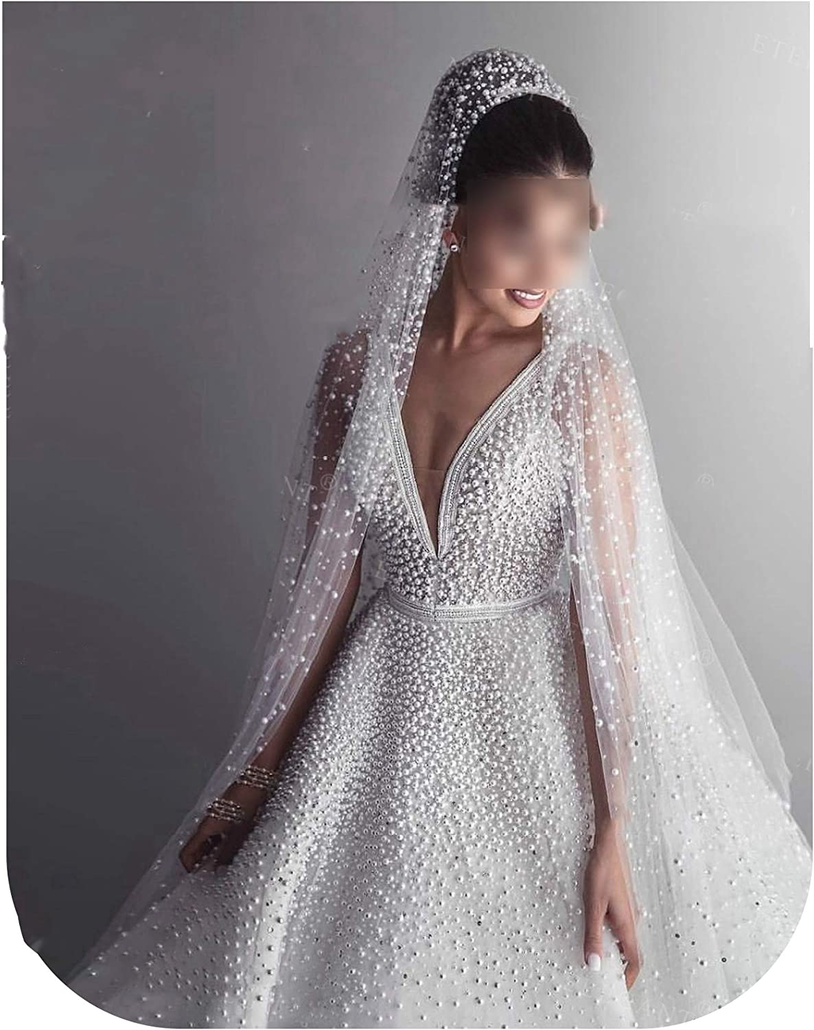 1 Tier 3M With Comb Cathedral Royal Pearl Wedding Veil Bridal Veil With Pearl Ivory Veu de Noi EE705,Ivory,300cm