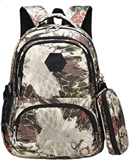 Camouflage Secondary School Backpack Book Bag with Pencil Case for Teenage Girls Boys, Waterproof Multiple Pockets Travel Rucksack, Lightweight Backpack Book Bag, Birthday Gift GNN (Color : Silver)