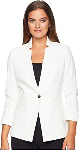 Crepe One-Button Rouched Sleeve Jacket