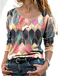 Long Sleeve T Shirts for Women Teen Girls Color Block Casual Blouses Crew Neck Pullover Tops Shirts Tee (Color : Orange, S...
