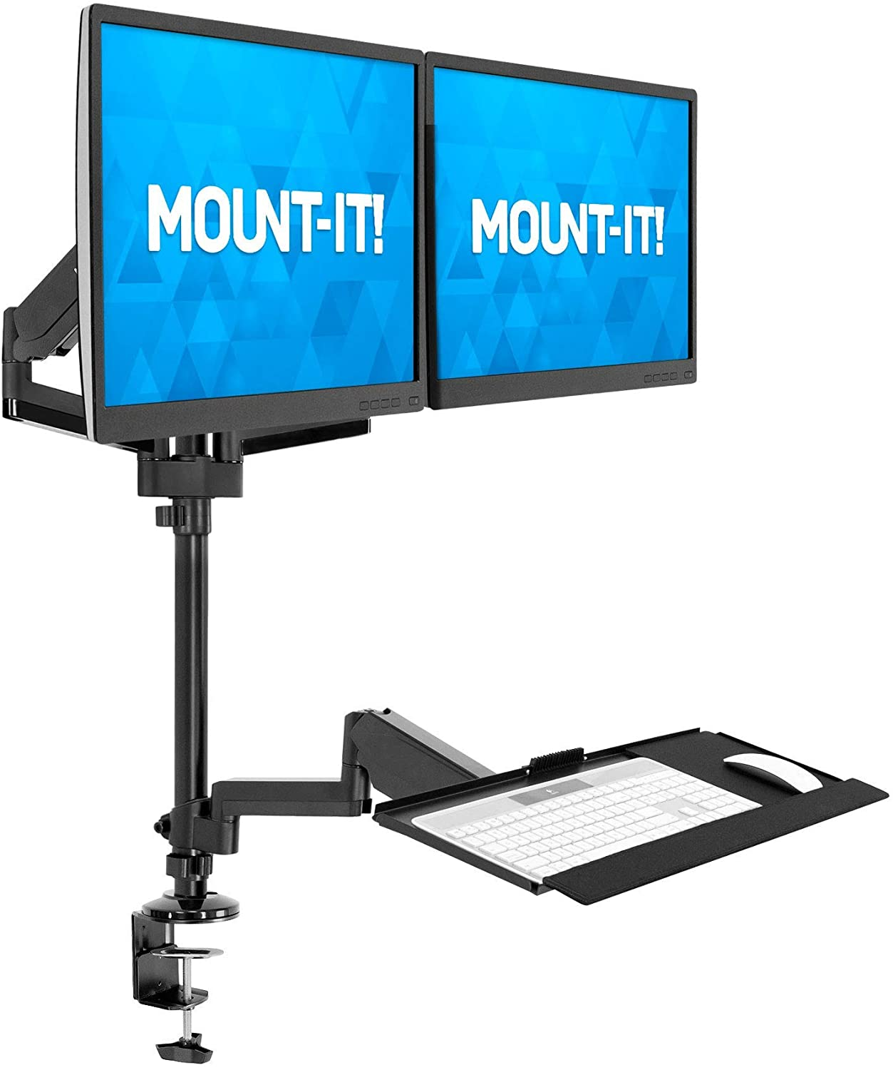 MOUNT-IT! Dual Monitor Sit Stand Workstation [2 Screens up to 32