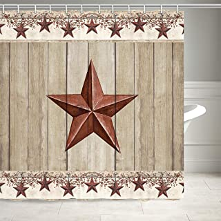 Rustic Barn Star on Wooden Door Shower Curtain, Western Texas Star and Primitive Berries on Country Wooden Plank Bath Curtains, Polyester Fabric Bathroom Shower Curtain 12PCS Hooks 69X70IN