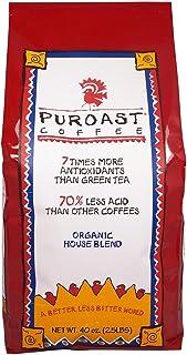 Puroast Low Acid Whole Bean Coffee, Organic House Blend, High Antioxidant, 2.5 Pound Bag