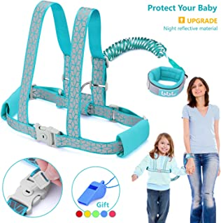 Toddler Leash & Harness for Safety, GKCI Child Anti Lost Wrist Link-Toddlers Harnesses Leashes for Walking-Keep Kids & Babies Close with You-Upgrade with Reflective Tape Liner-6.5ft(Blue)