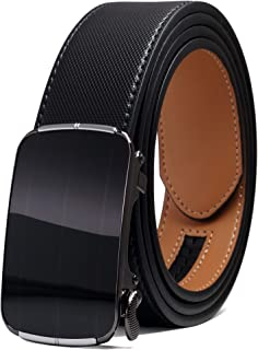 Men's Genuine Leather Ratchet Adjustable Belt with Automatic Buckle, 1.4