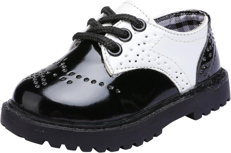 snofiy Children's Boy's Girl's Oxford School Uniform Wingtip Kids Classic Lace Up Dress Shoes