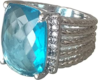 Designer Inspired Twisted Cable 20x16mm Blue Topaz Checkerboard Cushion Ring