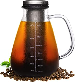 Veken Cold Brew Iced Coffee Maker & Iced Tea Maker -1.5L/51oz Glass Carafe with Removable Double Mesh Stainless Steel Filter, Includes Non-Slip Silicone Base and Sponge Brush