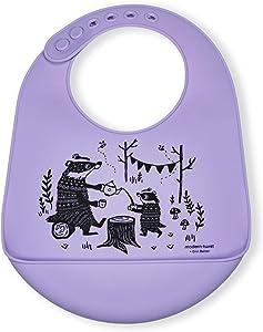 Modern Twist Bucket-Bib 100% Food-Grade Silicone, Waterproof and Reusable, Badger Family – Lavender