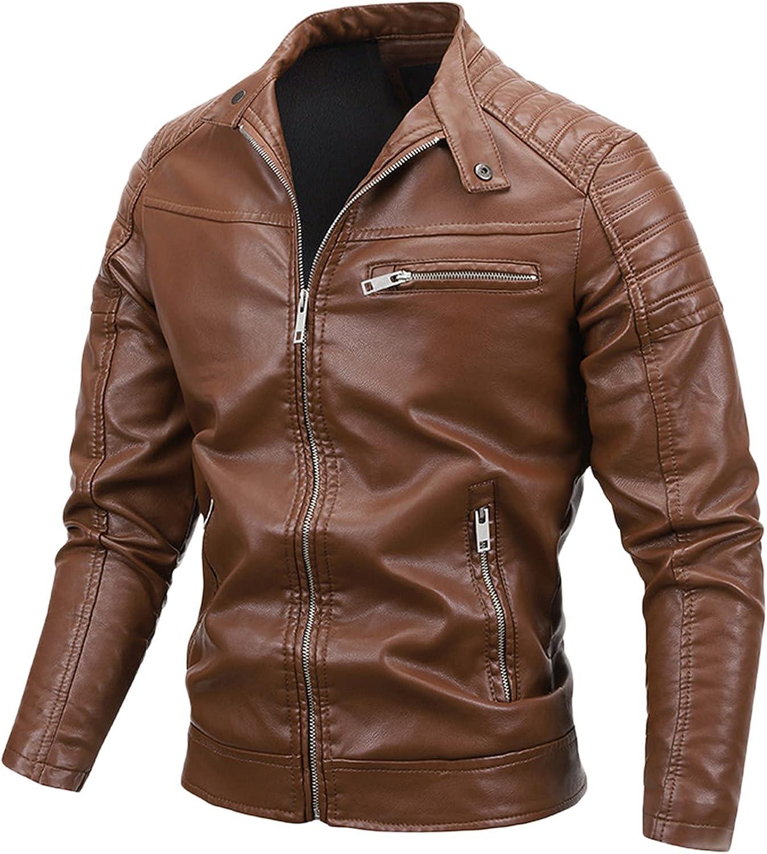 Men's Faux Leather Jacket Motorcycle Jacket Waterproof Windproof PU Moto Outerwear Vintage Bomber