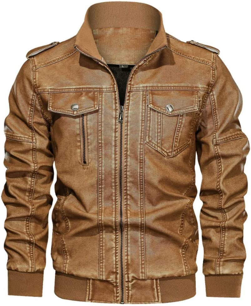 Baseball Uniform Thick Washed PU Men's Leather Jacket,Brown,6XL