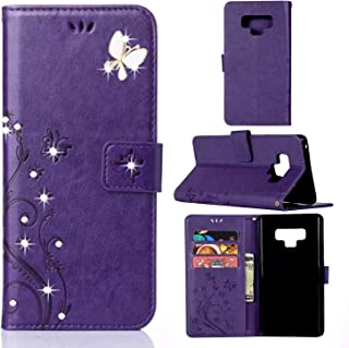 Galaxy Note 9 Case,Samsung Note 9 Wallet Case,Note 9 PU Leather Case Emboss Butterfly Flower Card Holder Flip Case for Samsung Galaxy Note 9 Purple/Bling