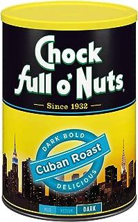 Chock Full o'Nuts Cuban Roast Ground Coffee, Dark Roast - 100% Premium Coffee Beans – Rich, Bold Dark Blend with Sweet Notes (10.5 Oz. Can)