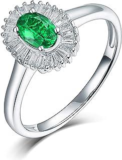ButiRest - Anello in oro bianco 750, 18 carati, 18 carati, con 4 rebbi ovali, 0,7 carati, smeraldo VS e diamante 0,28 carati