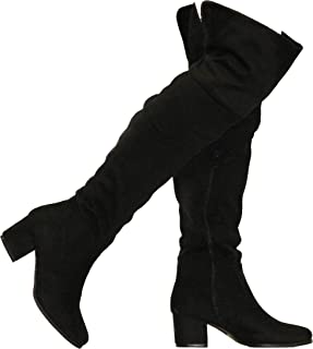 Shoes Womens Stylish Top Guy Over The Knee Block Heel Boots