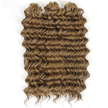 Amazon Com Deep Wave Crochet Hair Twist Synthetic Short Hair Styles For Women Afro Kinky Curly Braiding Hair Extensions 27 Beauty