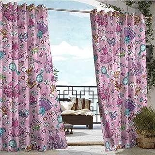 Andrea Sam Outdoor Balcony Privacy Curtain Princess,Dresses Castle Rainbows,W96 xL108 Outdoor Curtain Waterproof Rustproof Grommet Drape