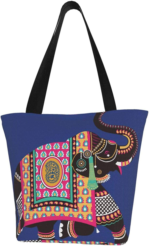 Elephant Faith Buddhism Art Themed Printed Women Canvas Handbag Zipper Shoulder Bag Work Booksbag Tote Purse Leisure Hobo Bag For Shopping