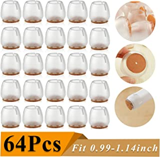 64 Pack Chair Leg Caps Silicone Floor Protector Round Furniture Table Feet Covers