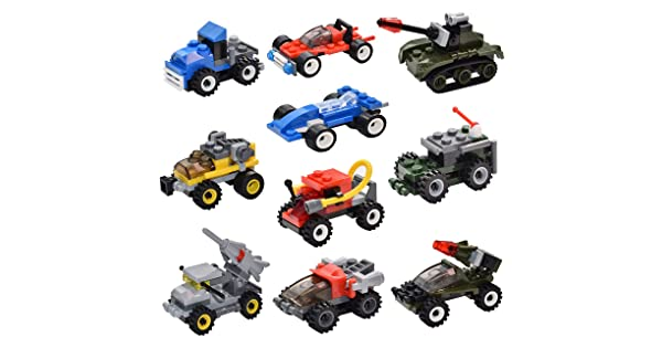 10 Pack Sawaruita Mini Building Bricks Military Vehicles,Compatible Bricks with All Major Brands, for Goodie Bags Kids Prizes Boys Birthday Gift Race Car