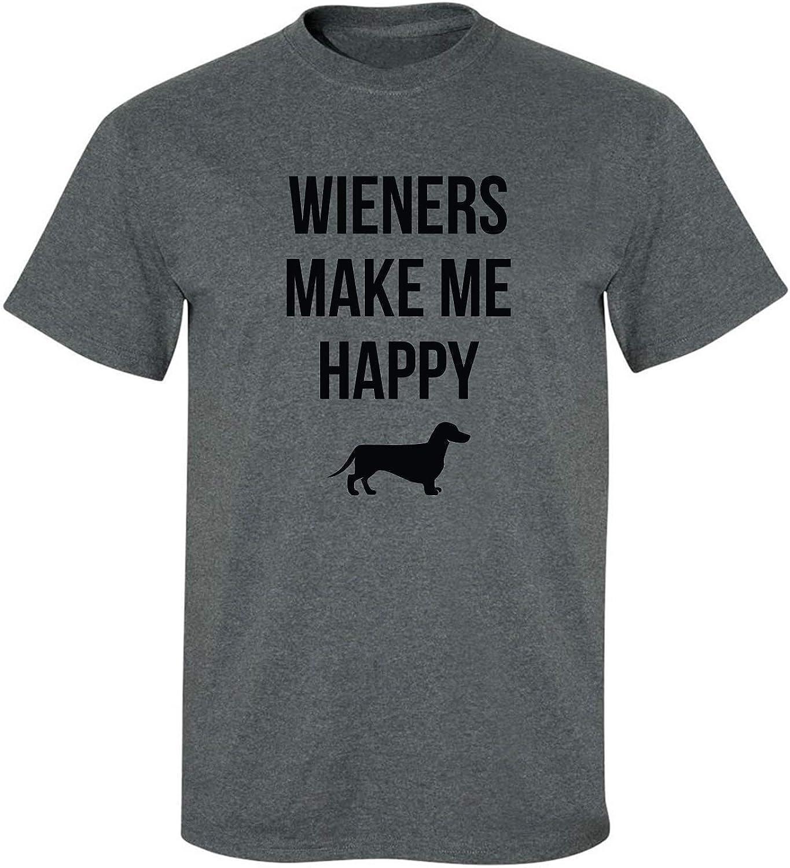 Wieners Make Me Happy Adult T-Shirt in Dark Heather - XXXX-Large