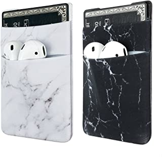 Two Pack Phone Card Holder uCOLOR Stretchy Lycra Wallet Pocket Credit Card ID Case Pouch Sleeve 3M Adhesive Sticker on iPhone Samsung Galaxy Android Smartphones (Black White Marble)