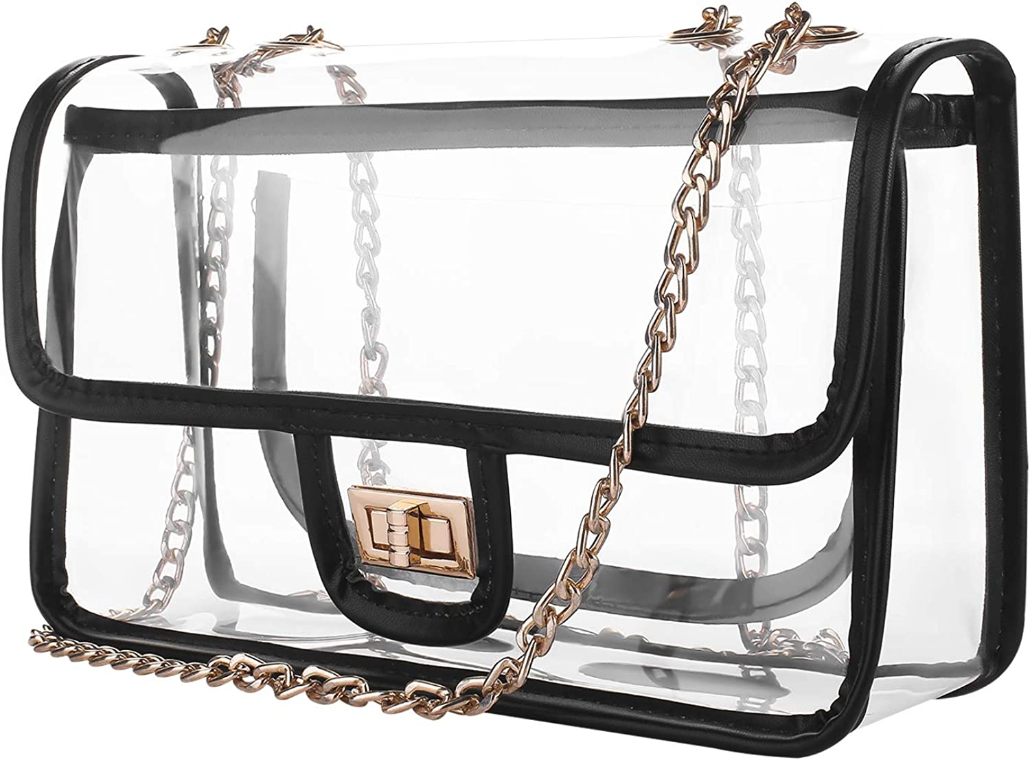 D&S Crossbody Shoulder Clear Bag, NFL and PGA Stadium Approved Transparent Bag for Sporting Events, Work, School Concerts