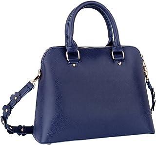 SIX Damen Handtasche, dunkelblaue Henkel-Tasche, Umhängetasche, mit Blumenapplikationen, Boxy Bag, in Lederoptik 726-405