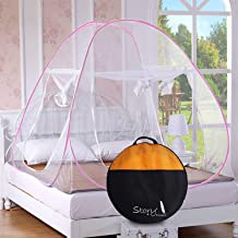 Story at home double bed foldable mosquito net (queen size, pink)