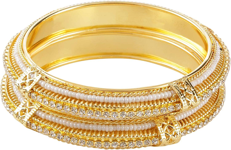 Efulgenz Indian Style Bollywood Traditional Gold Plated Faux Pearl Stone Wedding Bracelet Bangle Set Jewelry